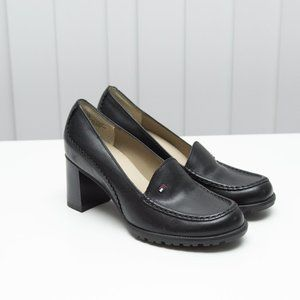 Tommy Hilfiger Black Chunky Heel Loafers